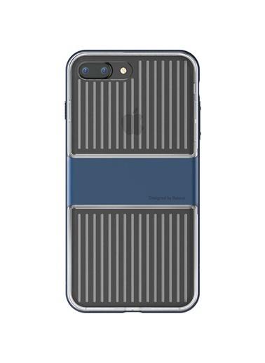 Baseus Iphone 7 / 8 / Se Travel Series Case Şeffaf Kılıf - Koyu Lacivert Renkli